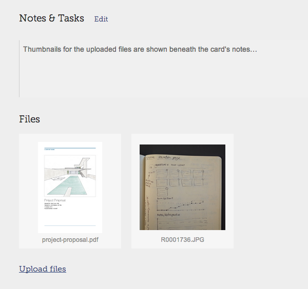 Thumbnails of each file are shown on the card's page